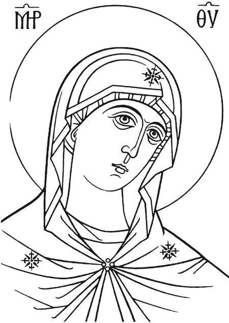 Богородица раскраски для детей