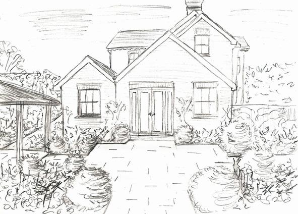 Рисунки карандашом дом с садом